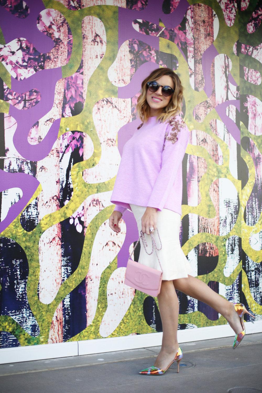 jcrew sweater, white chanel skirt, pink chanel crossbody and jcrew jacket 5.jpg