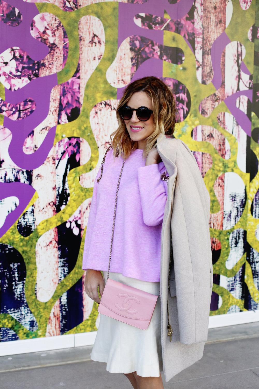 jcrew sweater, white chanel skirt, pink chanel crossbody and jcrew jacket.jpg