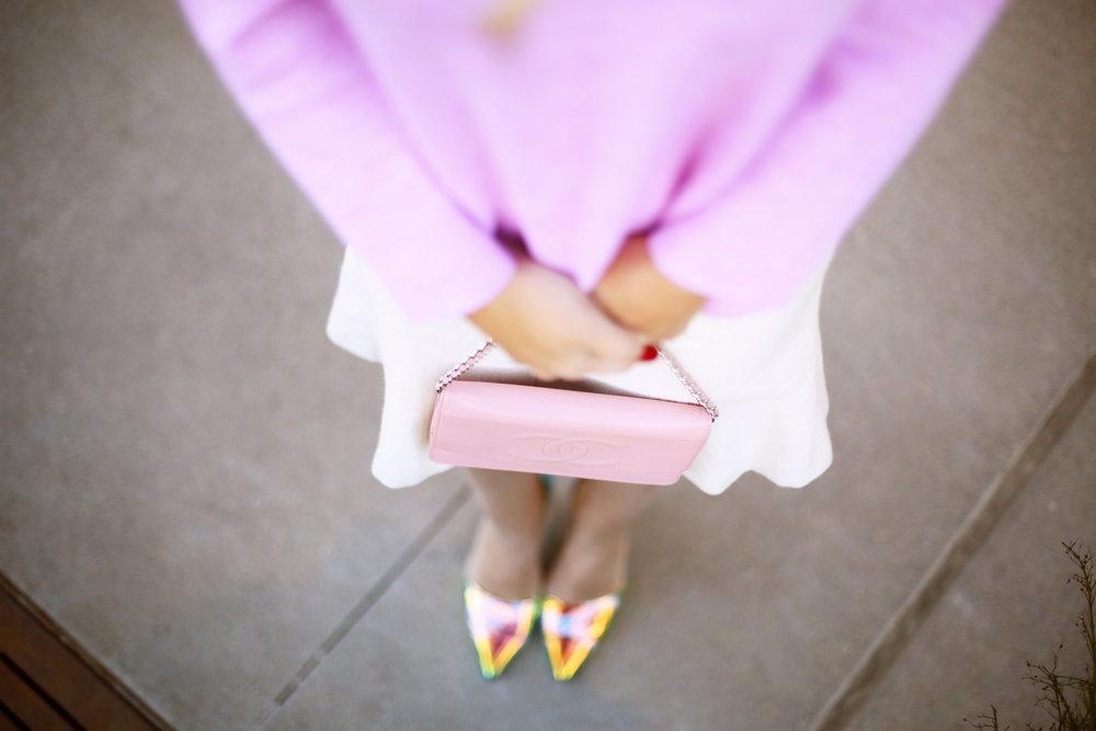 jcrew sweater, white chanel skirt, pink chanel crossbody and jcrew jacket 4.jpg