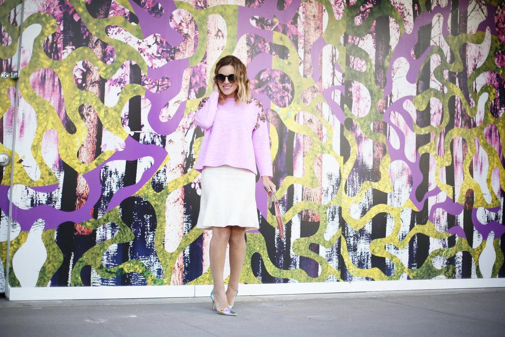 jcrew sweater, white chanel skirt, pink chanel crossbody and jcrew jacket 6.jpg