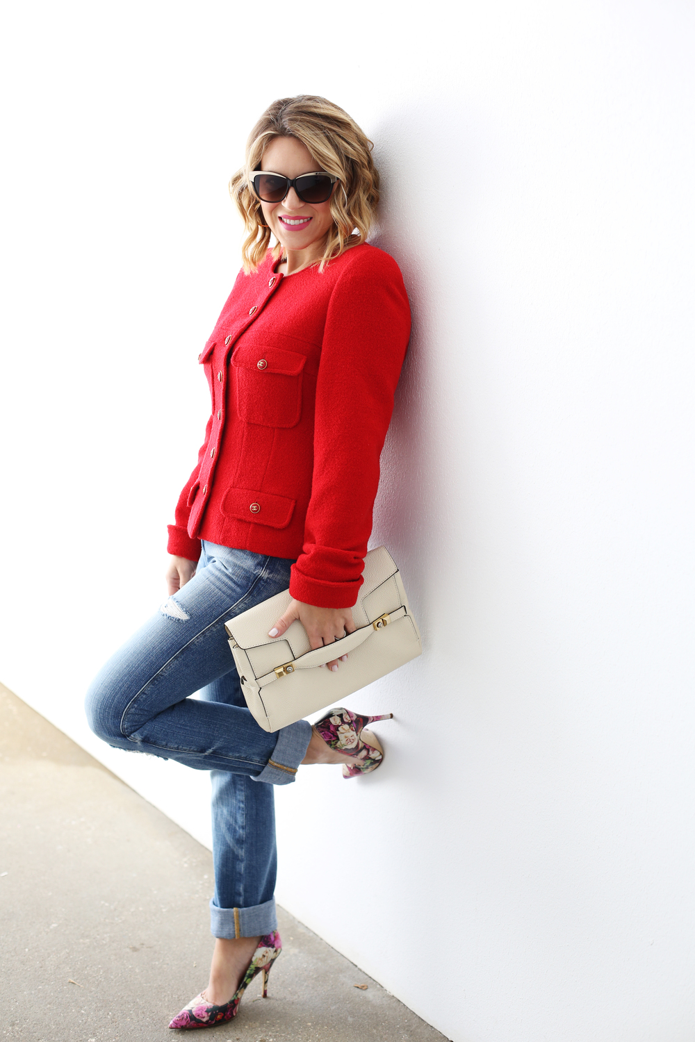 Chanel Red Blazer, Henri Bendel Bag, Kate Spade Floral Pumps and Frame Denim 3.JPG