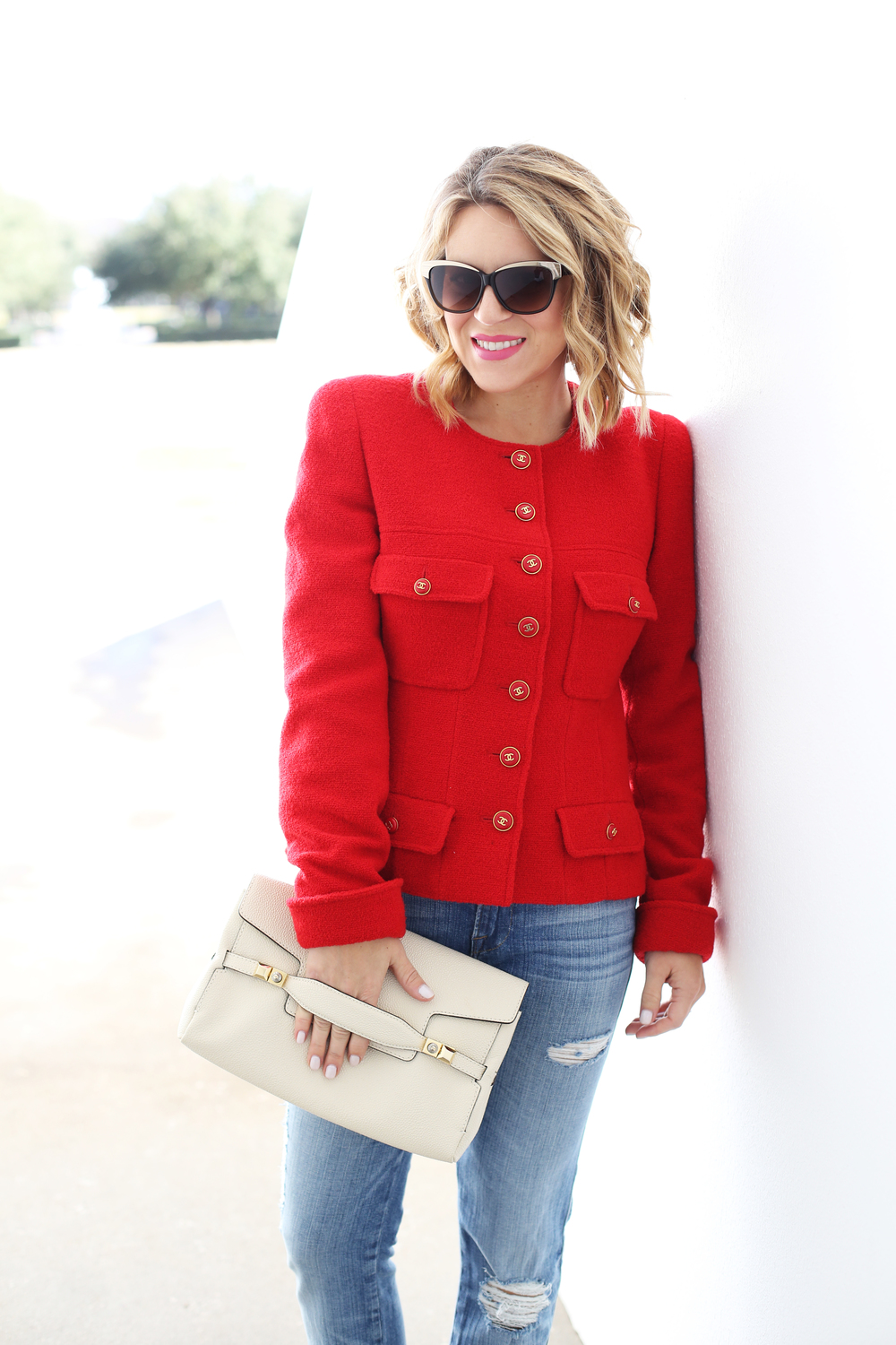 Chanel Red Blazer, Henri Bendel Bag, Kate Spade Floral Pumps and Frame Denim 5.JPG