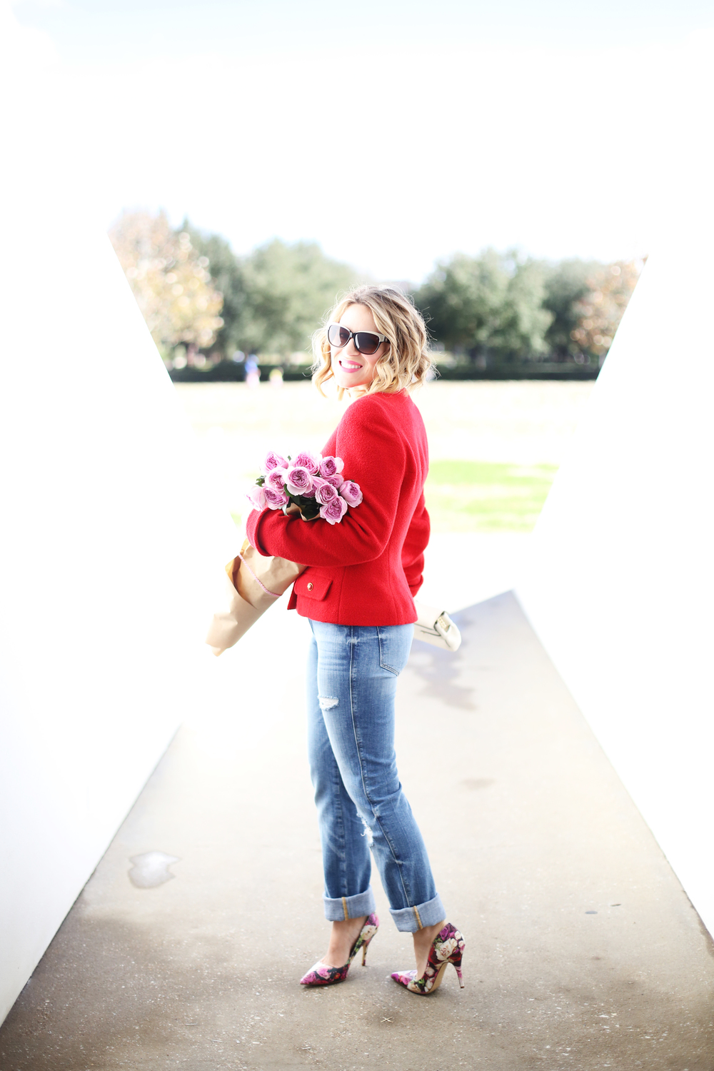 Chanel Red Blazer, Henri Bendel Bag, Kate Spade Floral Pumps and Frame Denim 7.JPG
