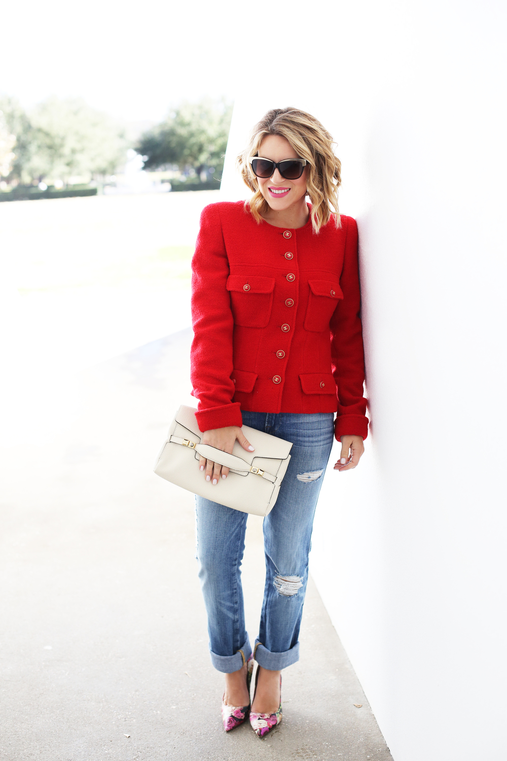 Chanel Red Blazer, Henri Bendel Bag, Kate Spade Floral Pumps and Frame Denim 6.JPG