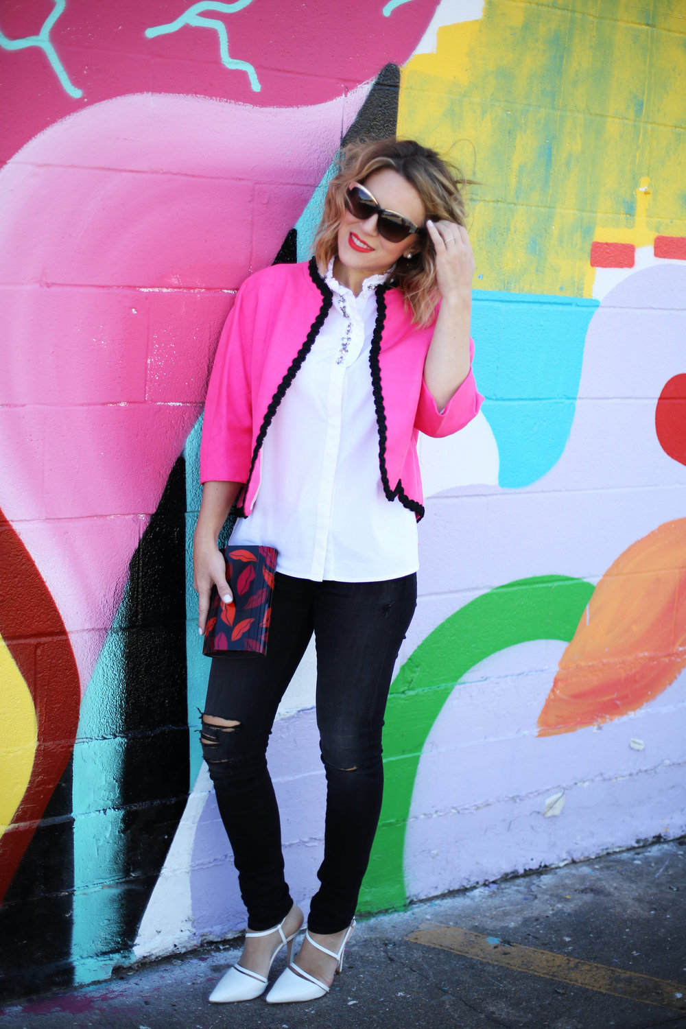 Vintage Pink Jacket and AG distressed Jeans 6.jpg