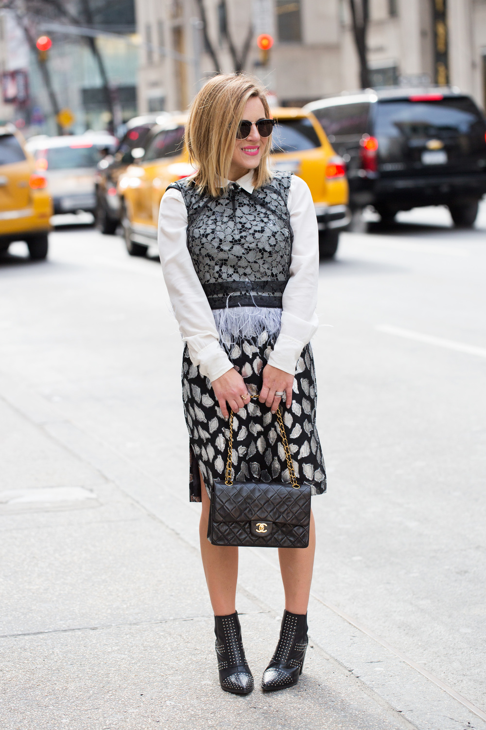 Self portrait and vintage dress with black quilted chanel purse 4.jpg