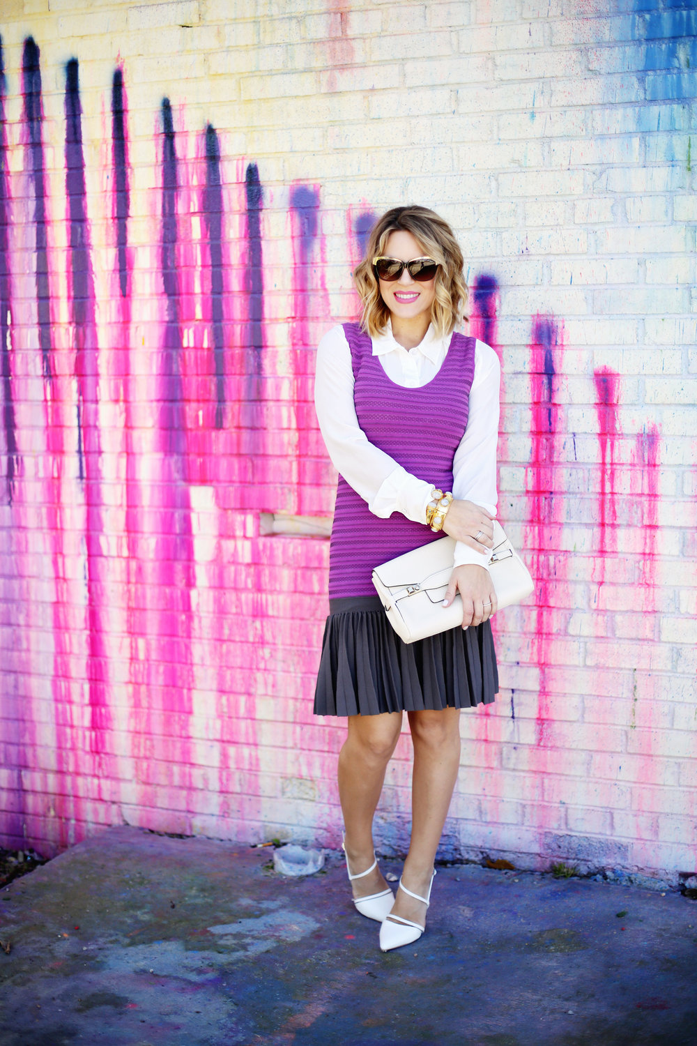Purple white label dress with white button down on Houston Art wall 6.jpg