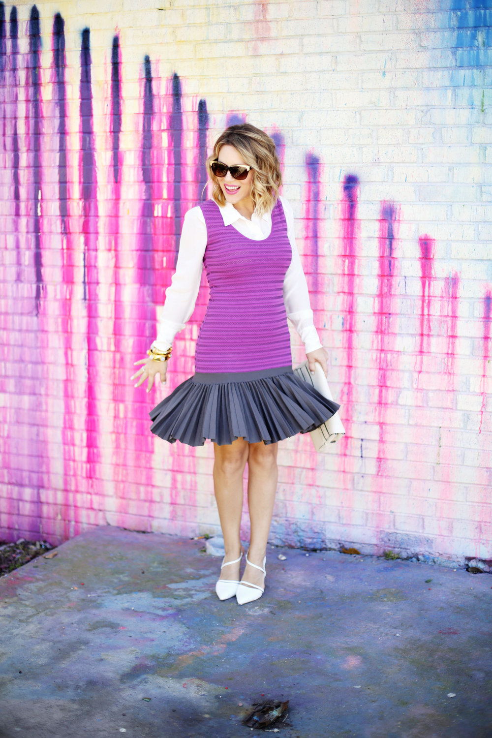 Purple white label dress with white button down on Houston Art wall 3.jpg