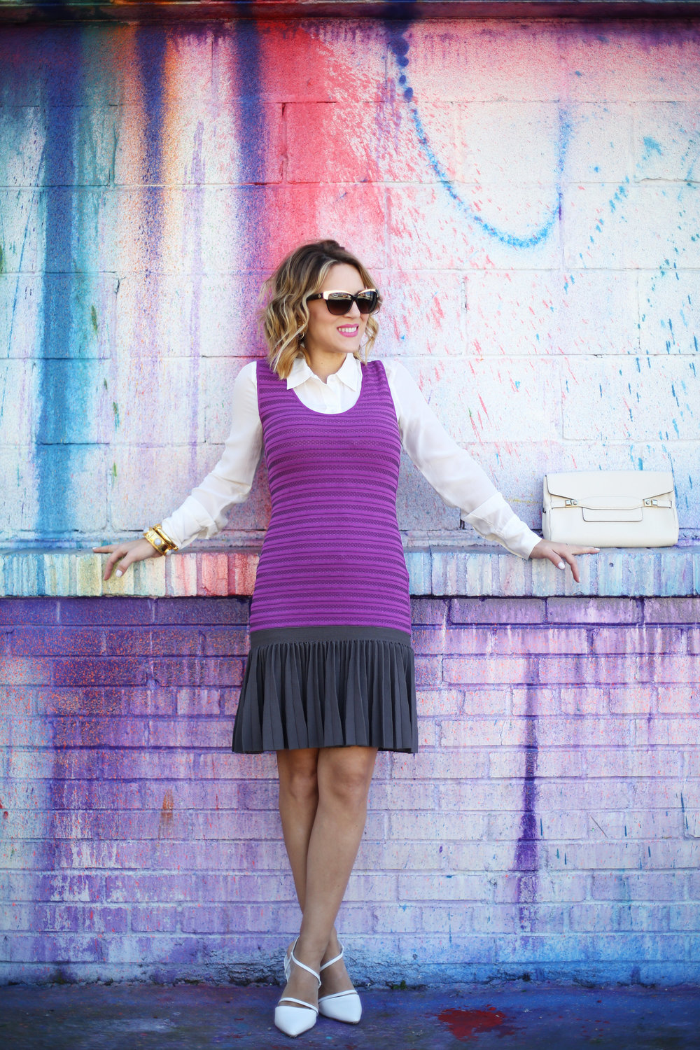 Purple white label dress with white button down on Houston Art wall 1.jpg