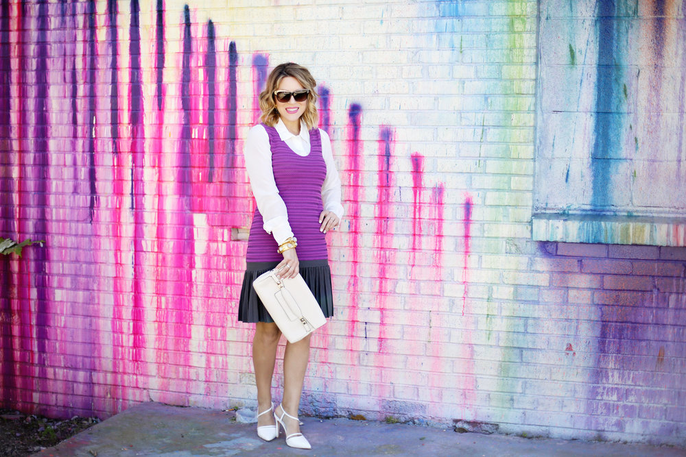 Purple white label dress with white button down on Houston Art wall 7.jpg