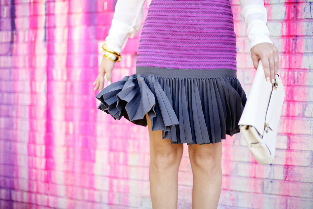 Purple white label dress with white button down on Houston Art wall 9.jpg
