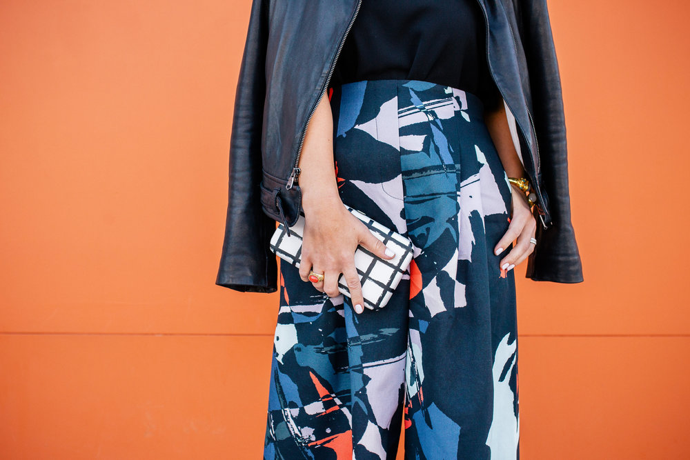 Hunter Bell wide leg resort print pants with leather jacket 5.jpg