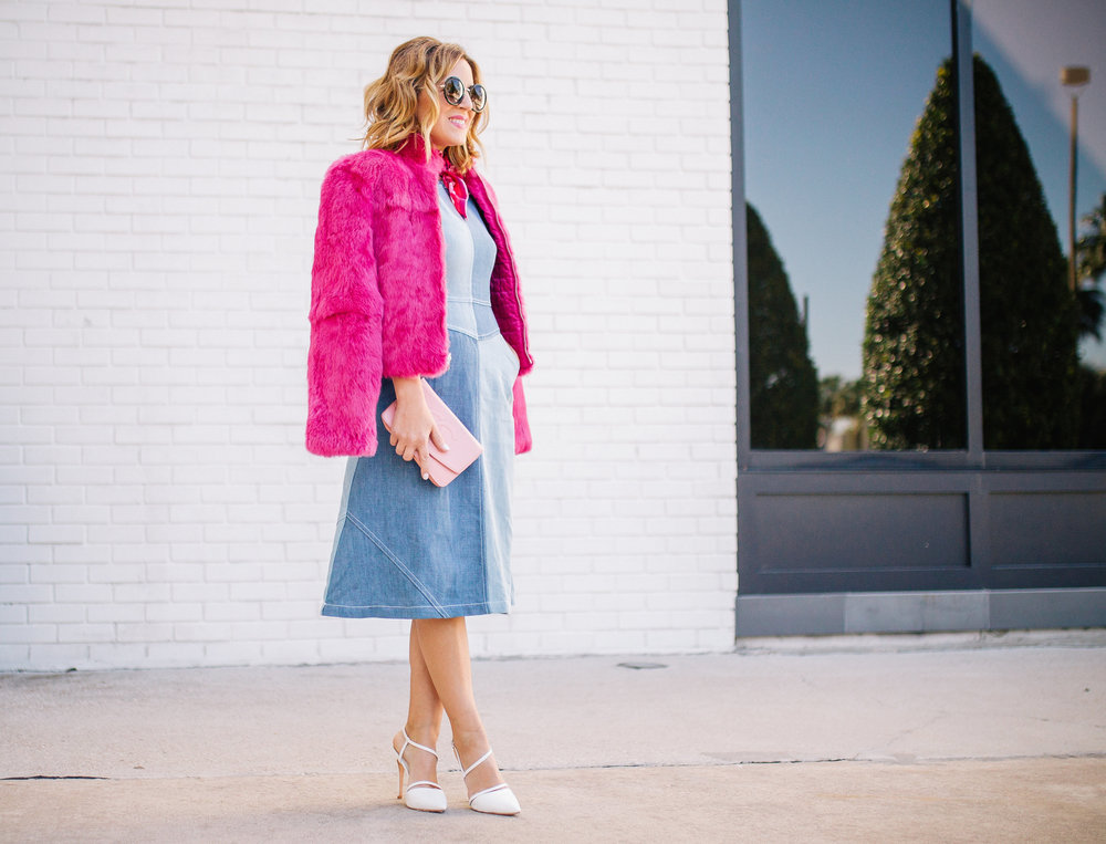 Chambray Dress with pink fur, pink scarf and pink sunglasses. 5.jpg