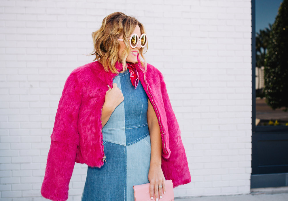 Chambray Dress with pink fur, pink scarf and pink sunglasses. 1.jpg