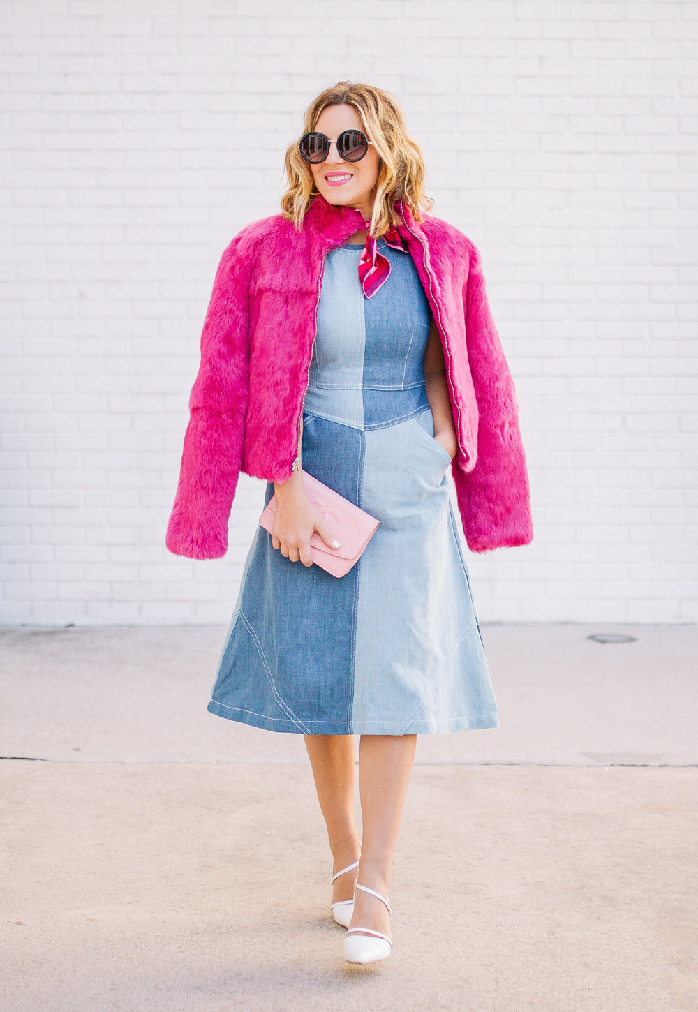 Chambray Dress with pink fur, pink scarf and pink sunglasses. 6.jpg