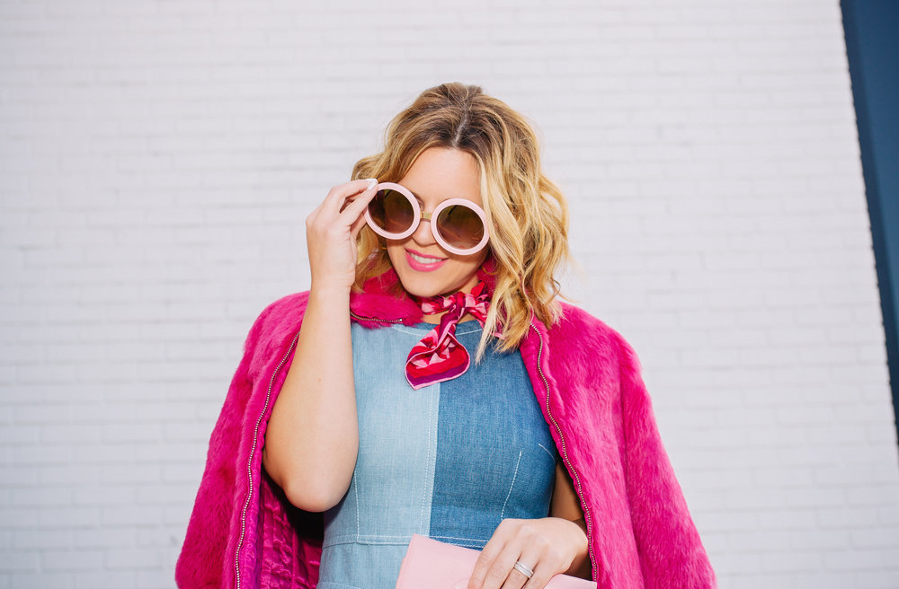 Chambray Dress with pink fur, pink scarf and pink sunglasses. 3.jpg