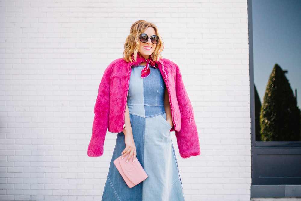 Chambray Dress with pink fur, pink scarf and pink sunglasses. 8.jpg