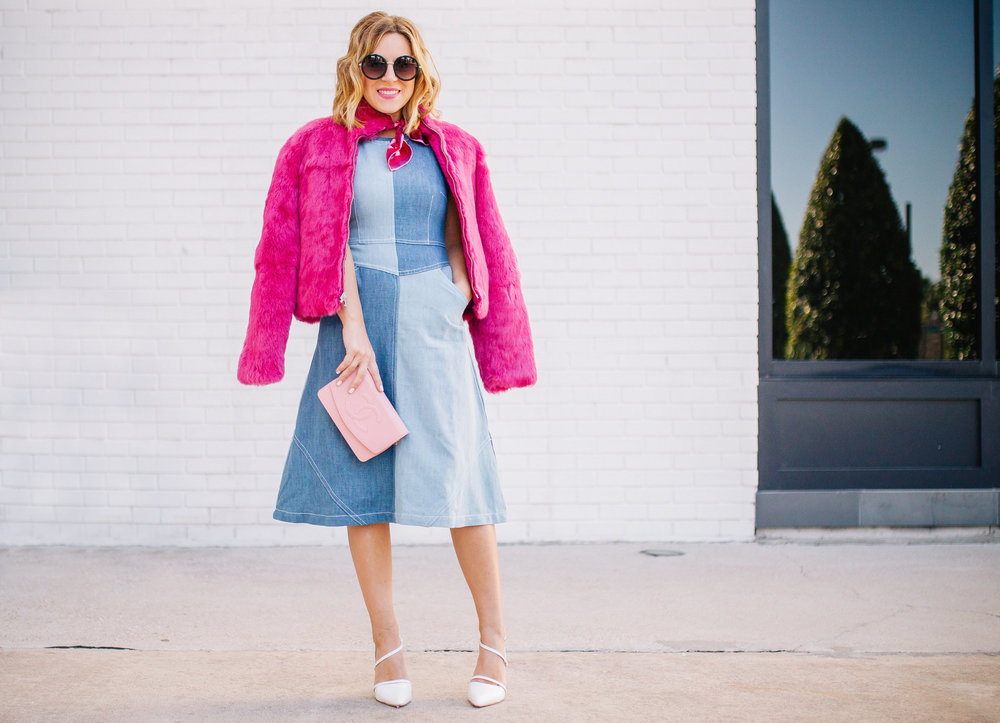 Chambray Dress with pink fur, pink scarf and pink sunglasses. 9.jpg