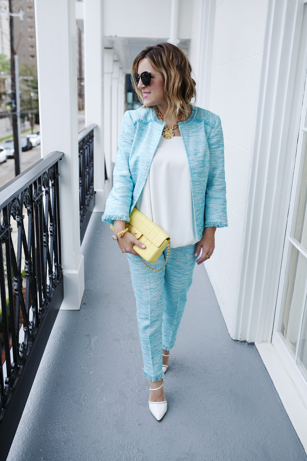 Trina Turk Turquoise matching set: yellow chanel: New Orleans Boutique Hotel- 7.jpg