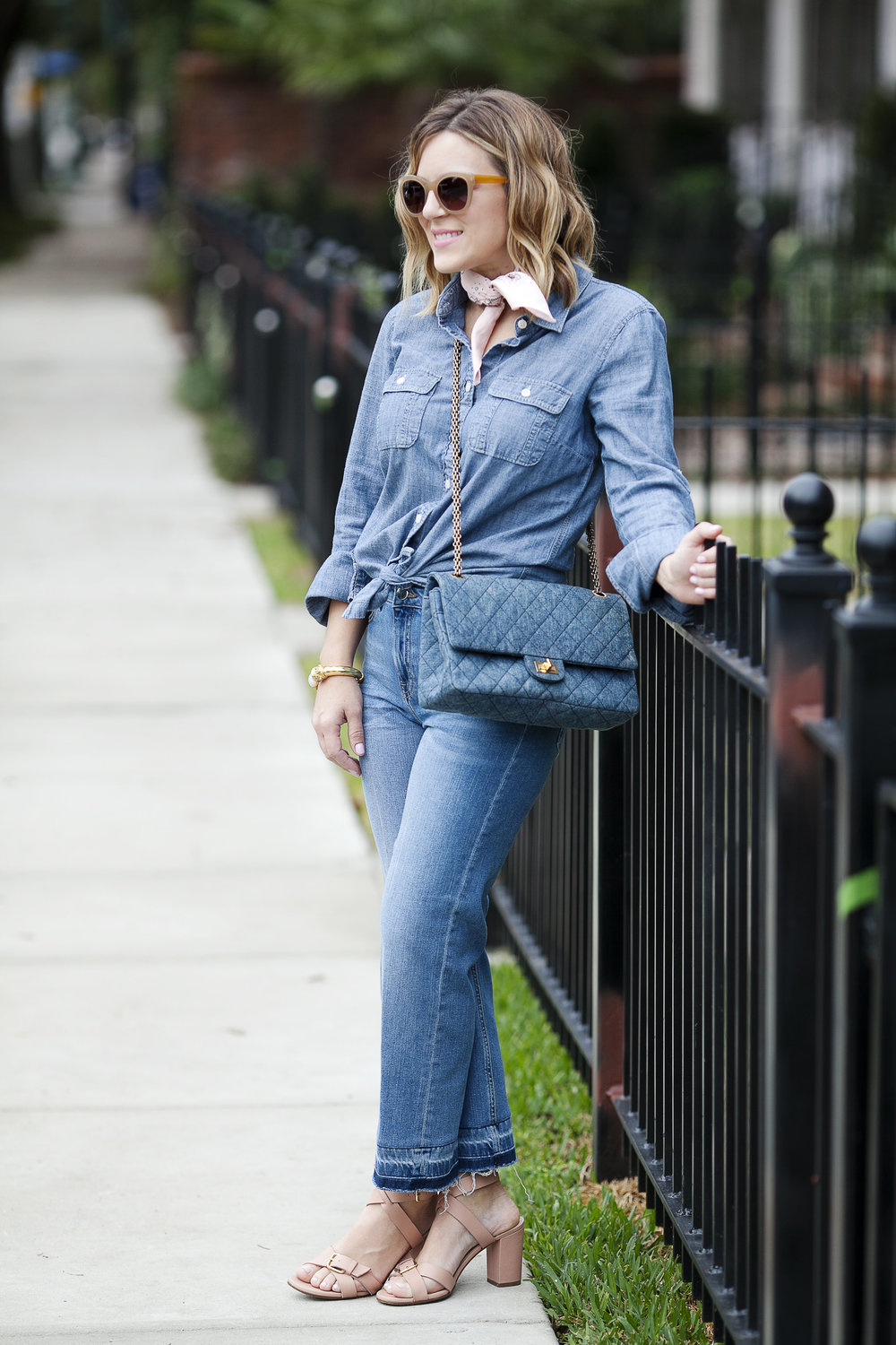 All denim look- Top Shop jeans and denim Chanel purse 3.jpg