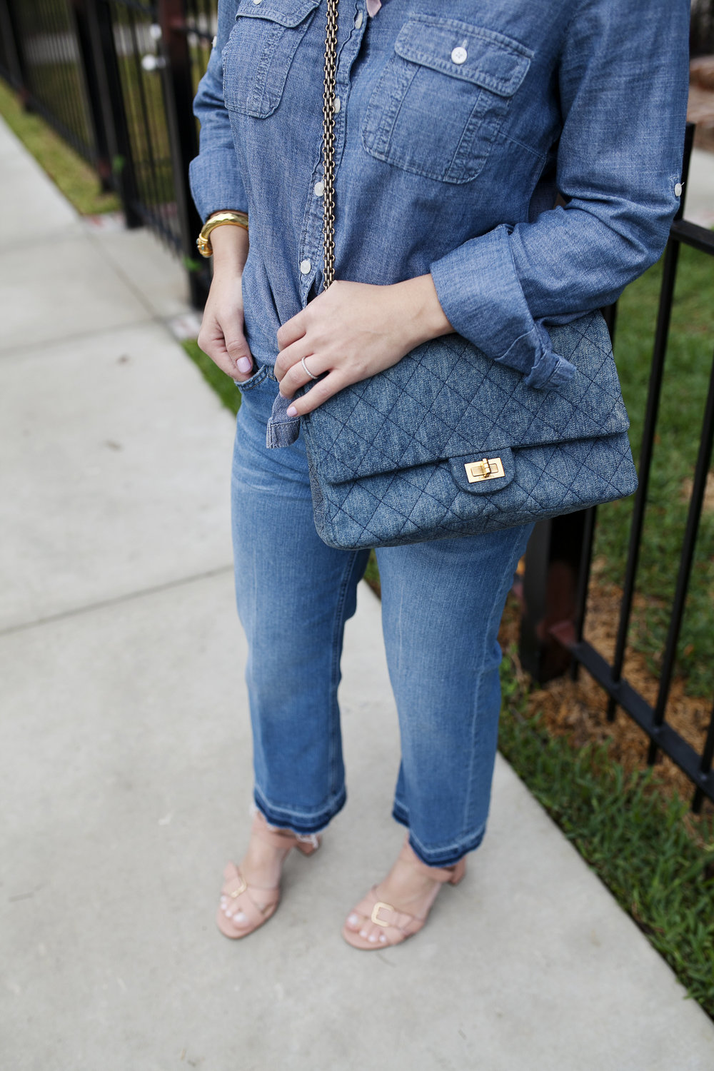 All denim look- Top Shop jeans and denim Chanel purse 5.jpg