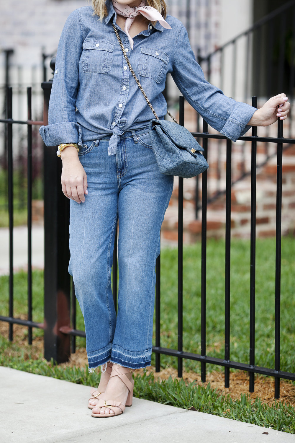 All denim look- Top Shop jeans and denim Chanel purse 2.jpg