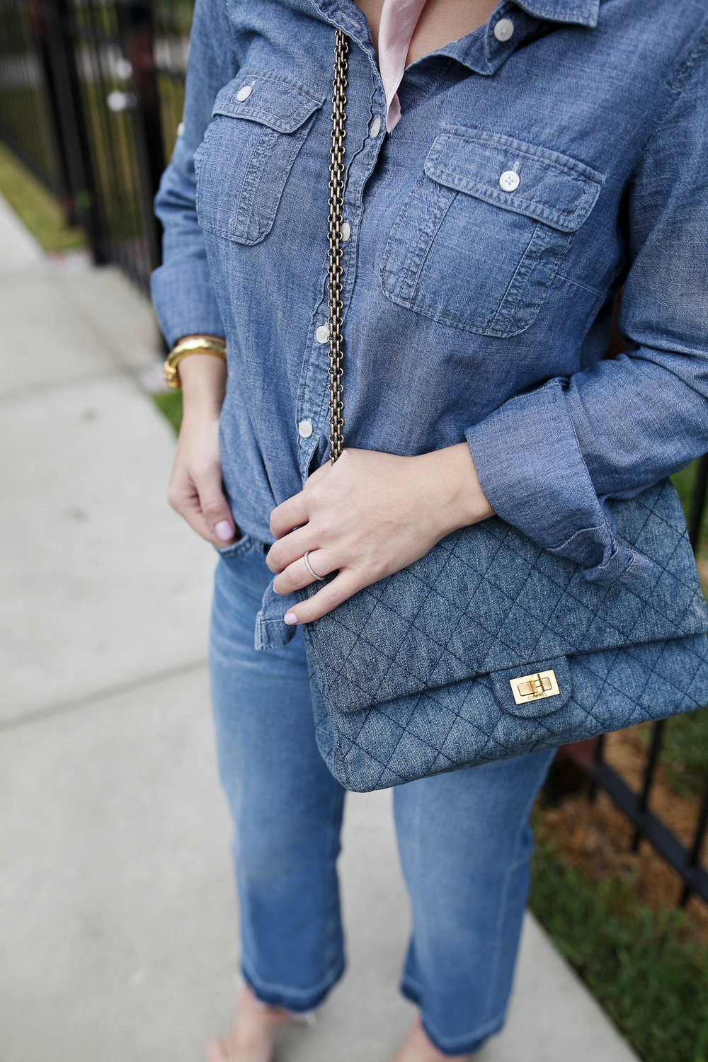 All denim look- Top Shop jeans and denim Chanel purse 8.jpg