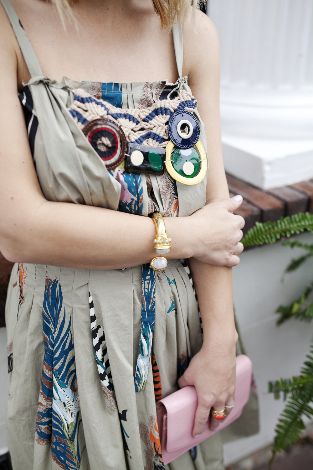 Marni dress with feathers, pink chanel bag and red strappy shoes 1.jpg