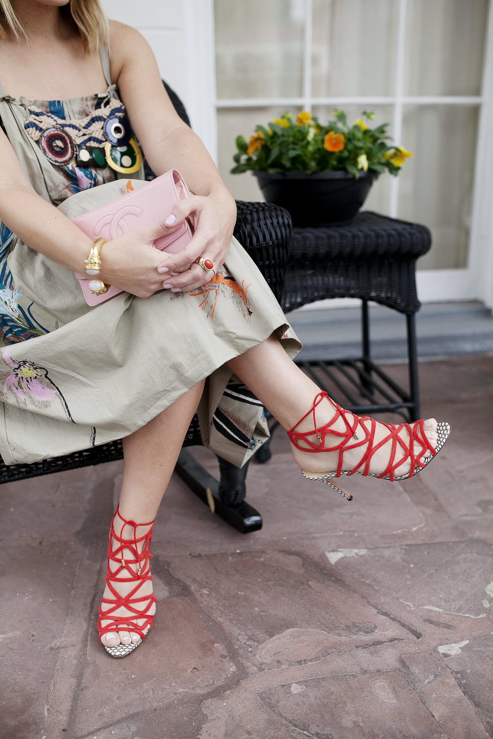 Marni dress with feathers, pink chanel bag and red strappy shoes 3.jpg