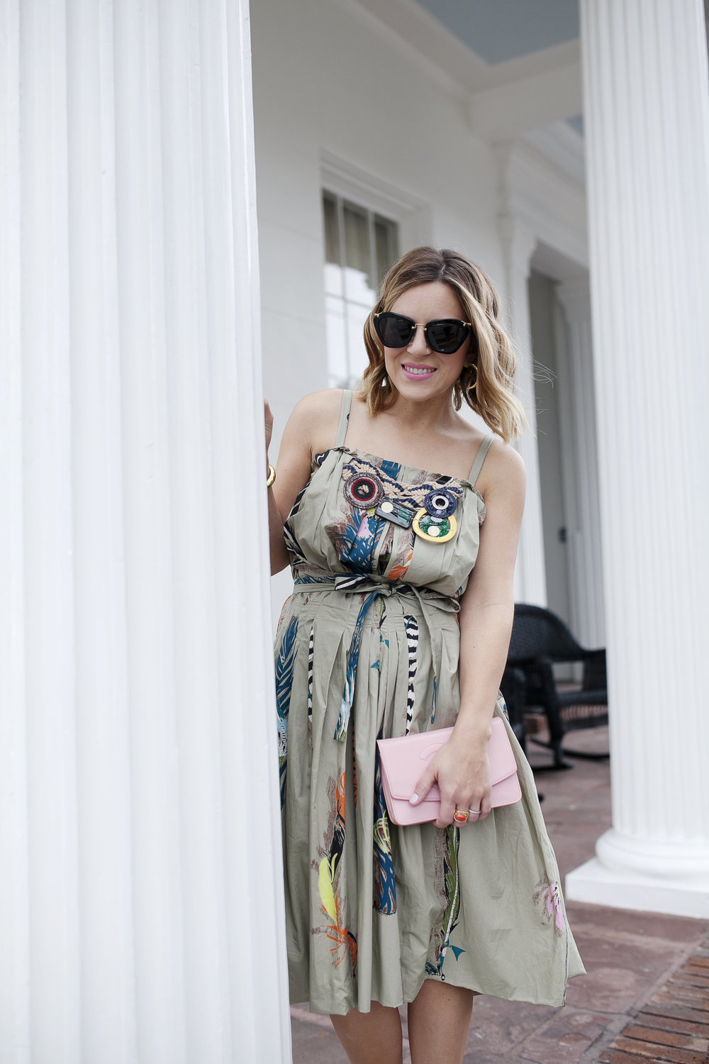 Marni dress with feathers, pink chanel bag and red strappy shoes 7.jpg