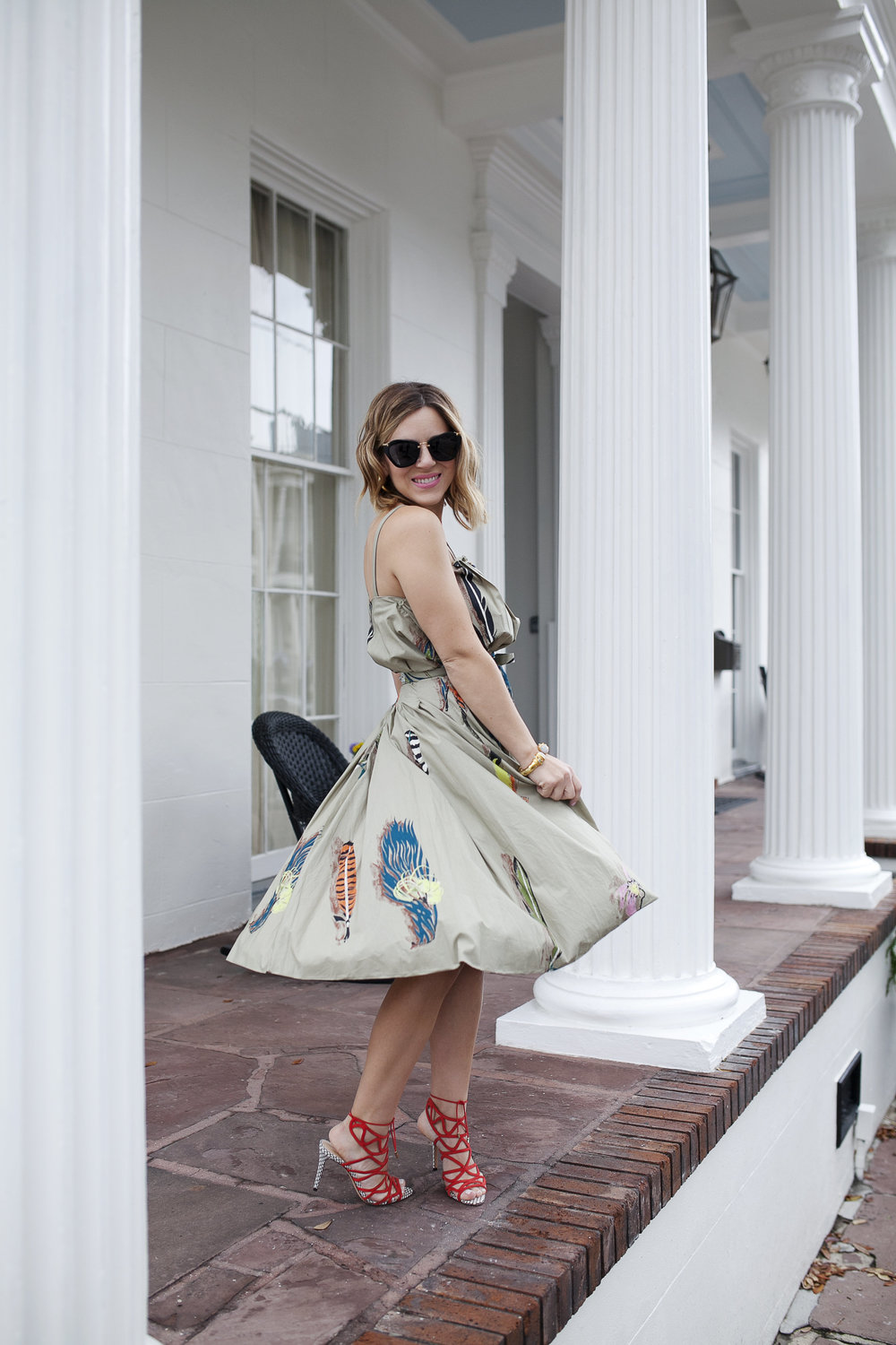 Marni dress with feathers, pink chanel bag and red strappy shoes 5.jpg