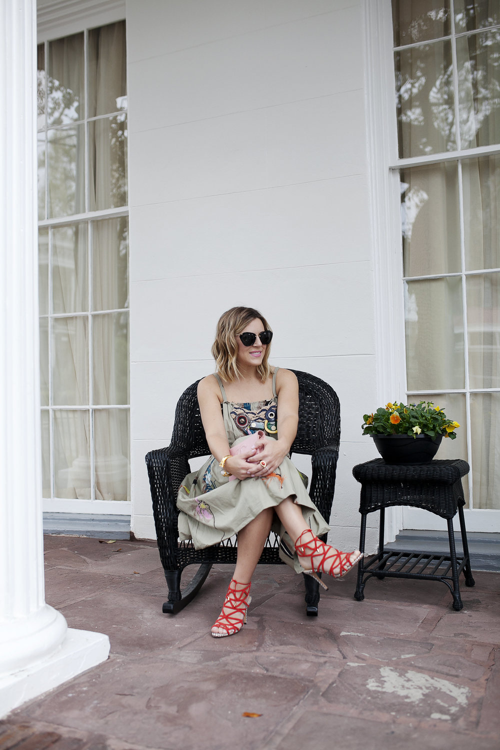 Marni dress with feathers, pink chanel bag and red strappy shoes 2.jpg