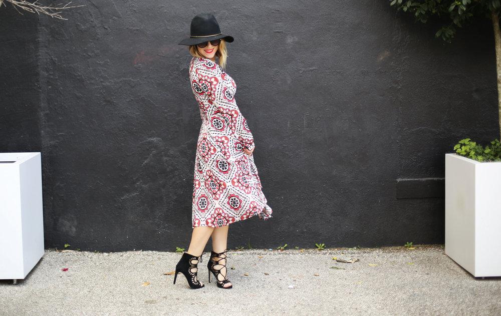 Yumi Kim boho dress with black strappy sandals and black hat 1.jpg