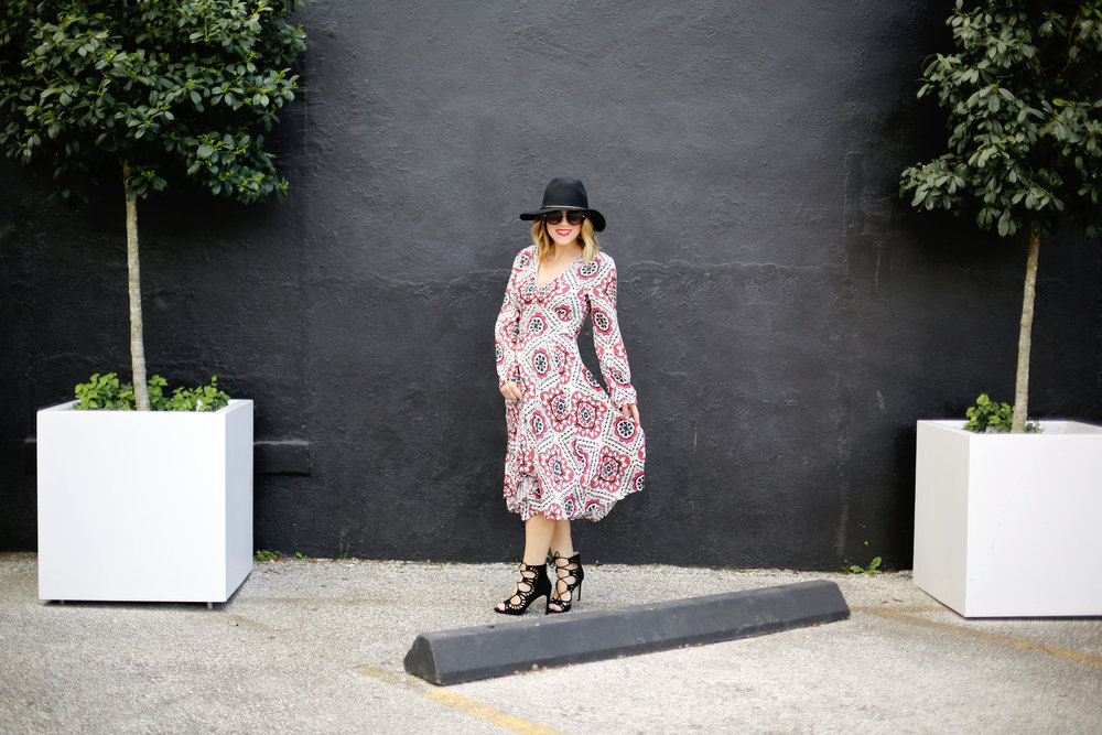Yumi Kim boho dress with black strappy sandals and black hat 3.jpg