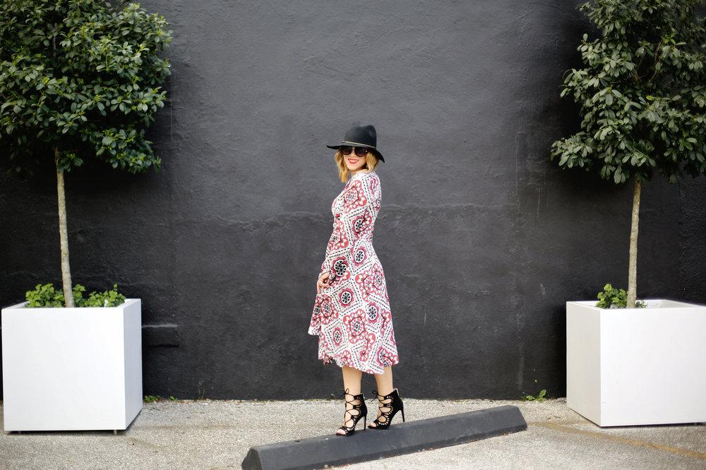 Yumi Kim boho dress with black strappy sandals and black hat 2.jpg