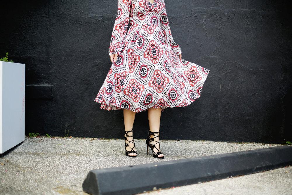 Yumi Kim boho dress with black strappy sandals and black hat 4.jpg