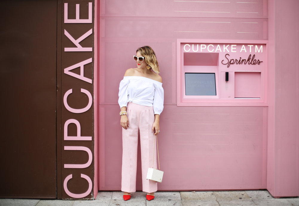 Trina turk off the shoulder white top with vintage pink gingham pants and j.crew jewelry (cupcake ATM) -1.jpg