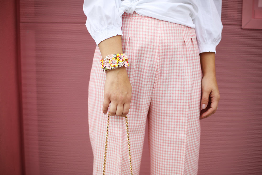 Trina turk off the shoulder white top with vintage pink gingham pants and j.crew jewelry (cupcake ATM) -5.jpg