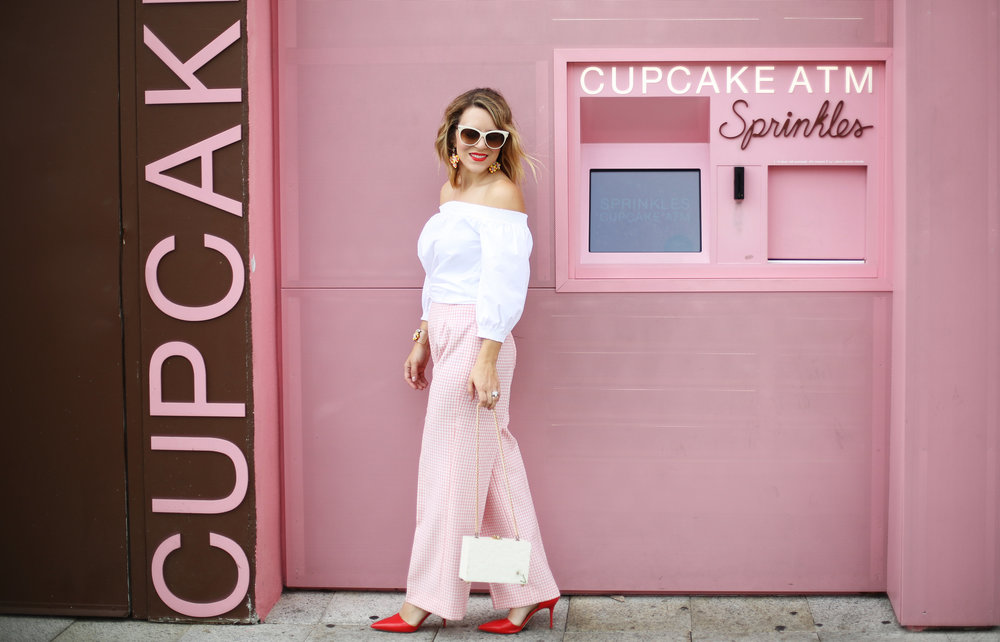 Trina turk off the shoulder white top with vintage pink gingham pants and j.crew jewelry (cupcake ATM) -9.jpg