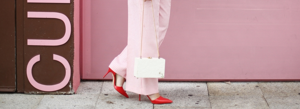 Trina turk off the shoulder white top with vintage pink gingham pants and j.crew jewelry (cupcake ATM) -3.jpg