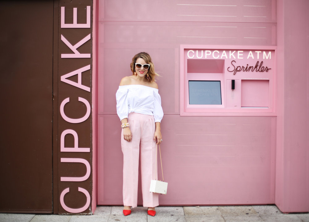 Trina turk off the shoulder white top with vintage pink gingham pants and j.crew jewelry (cupcake ATM) -2.jpg