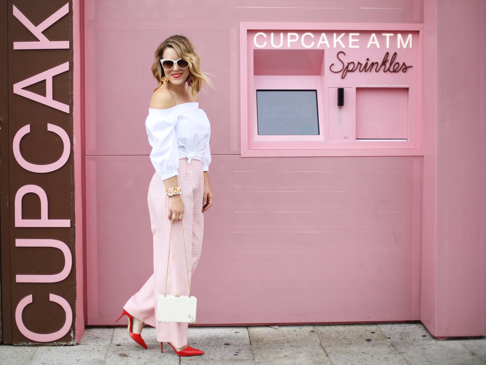 Trina turk off the shoulder white top with vintage pink gingham pants and j.crew jewelry (cupcake ATM) -4.jpg