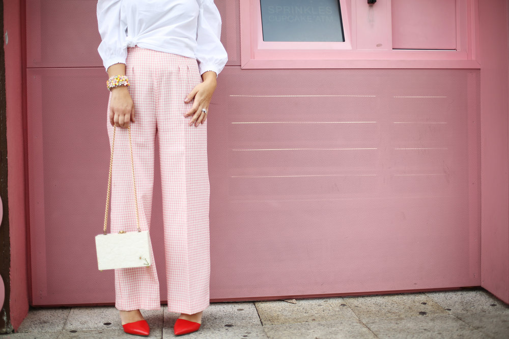 Trina turk off the shoulder white top with vintage pink gingham pants and j.crew jewelry (cupcake ATM) -6.jpg