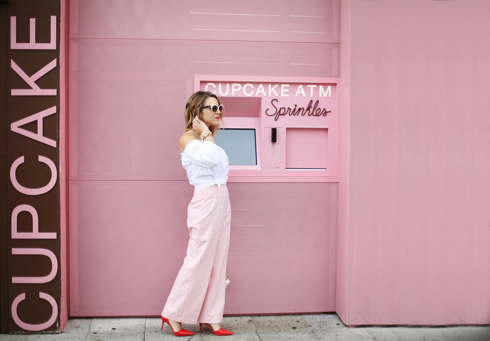 Trina turk off the shoulder white top with vintage pink gingham pants and j.crew jewelry (cupcake ATM) -8.jpg