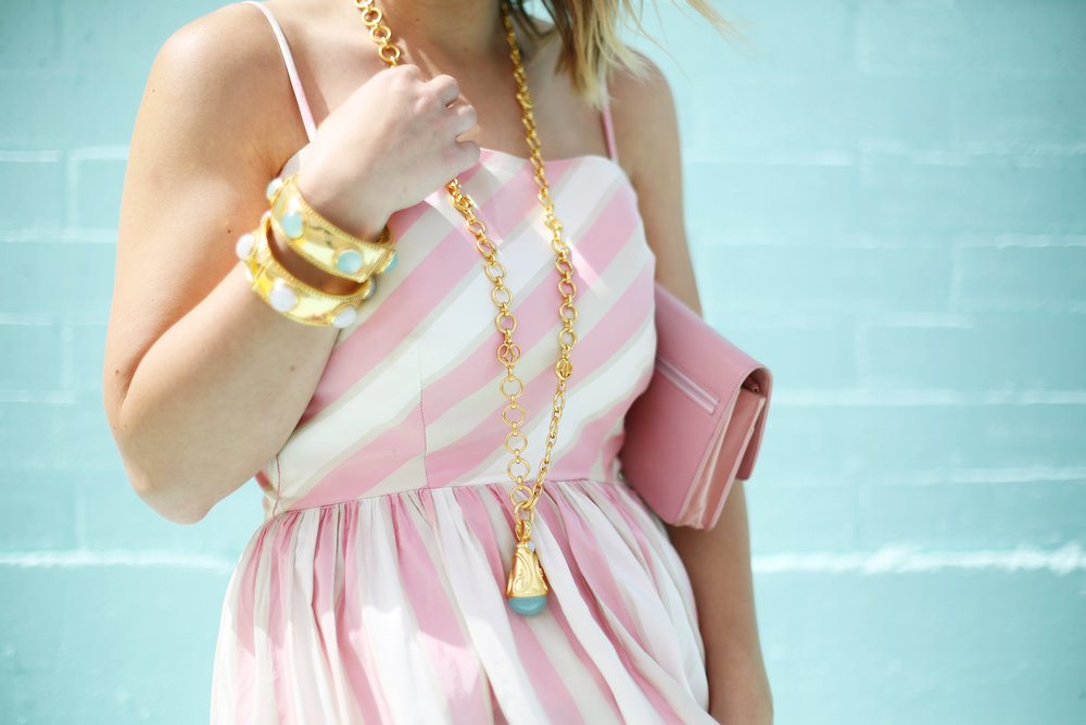 pink and white striped long dress: pink chanel: gold julie vos jewelry: worn two ways 1.jpg