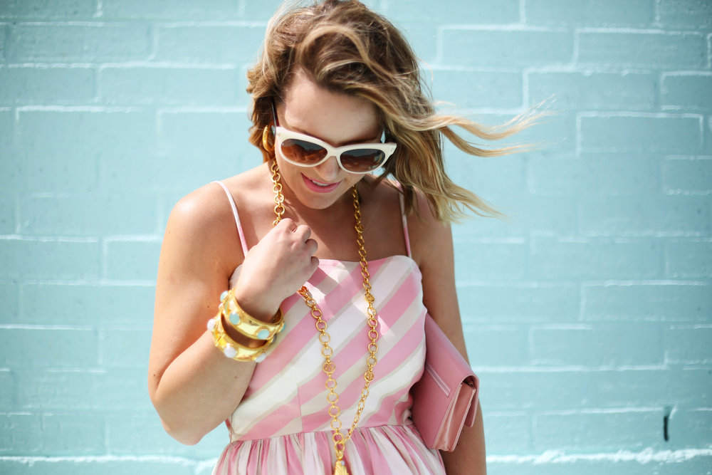 pink and white striped long dress: pink chanel: gold julie vos jewelry: worn two ways 7.jpg