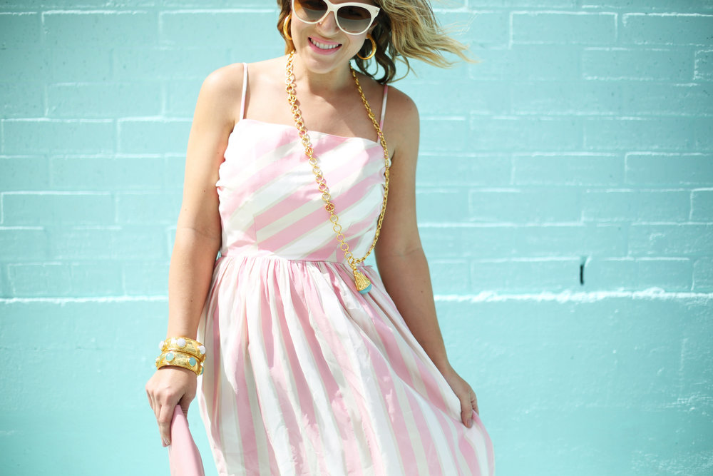 pink and white striped long dress: pink chanel: gold julie vos jewelry: worn two ways 9.jpg