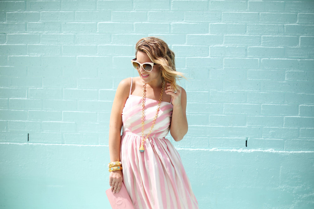 pink and white striped long dress: pink chanel: gold julie vos jewelry: worn two ways 8.jpg