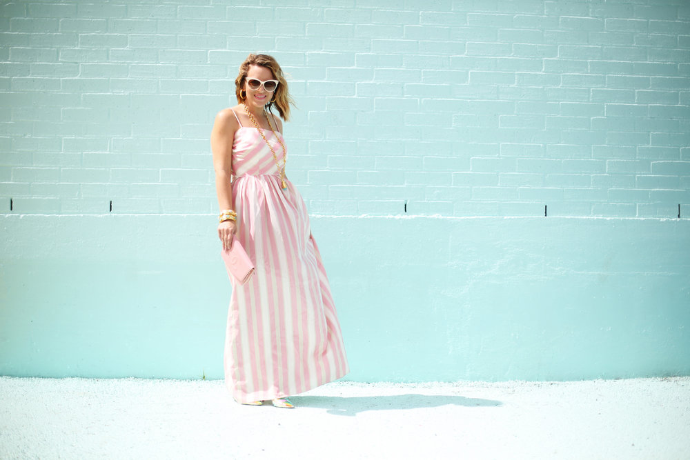 pink and white striped long dress: pink chanel: gold julie vos jewelry: worn two ways 10.jpg