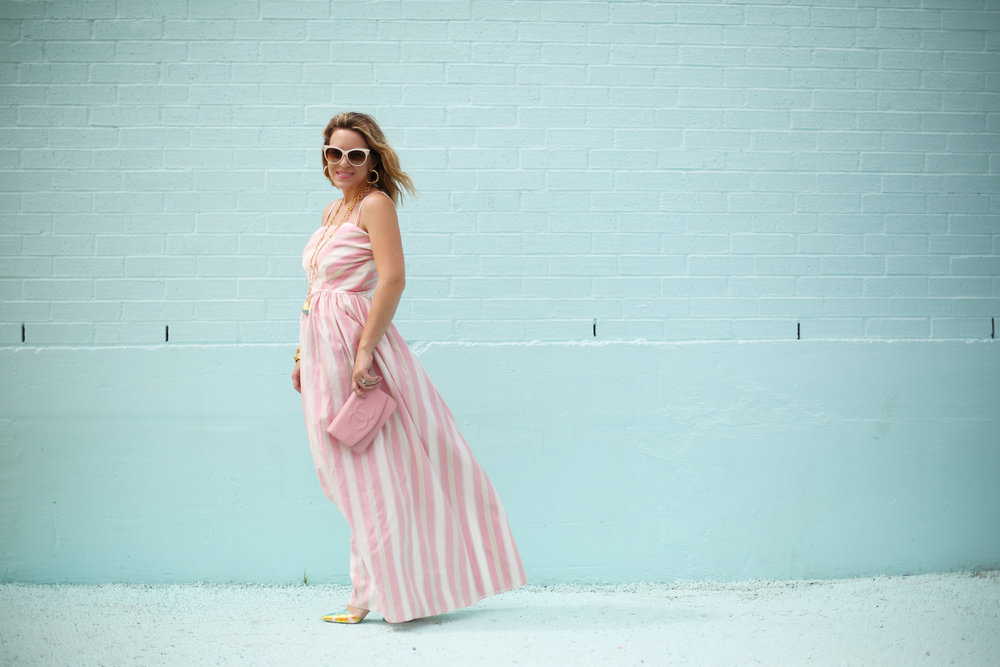 pink and white striped long dress: pink chanel: gold julie vos jewelry: worn two ways 11.jpg